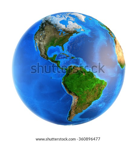 Detailed picture of the Earth and its landforms, isolated on white. Elements of this image furnished by NASA