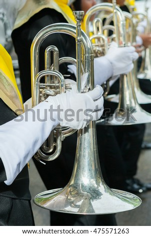 Details from a show band, Marching Band in Sprot day at Thailand.
