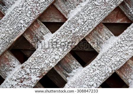 Details of an old fence covered with frost