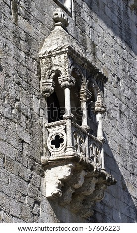Details of Belem Tower (Torre de Belem), a UNESCO World Heritage Site, built in the 16th century