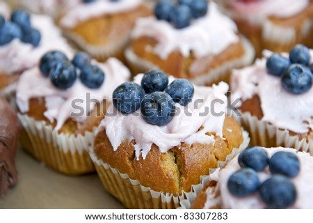 Details of delicious muffins with blueberries on the top.