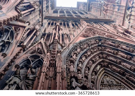 Details of stone figures on the facade of Strasbourg Cathedral, France