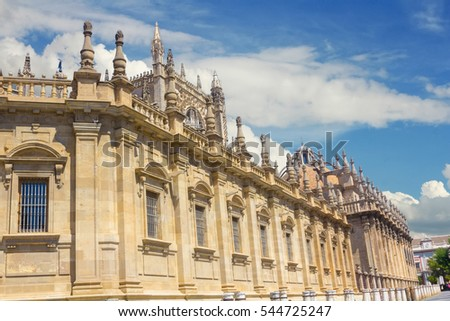 Details of the facade of the cathedral of Santa Maria La Giralda in Seville, Spain