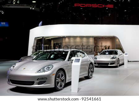DETROIT - JANUARY 11: Porsche Display at the 2012 North American International Auto Show Industry Preview on January 11, 2012 in Detroit, Michigan.