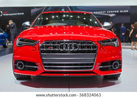 DETROIT - JANUARY 13: The 2016 Audi S6 on display at the North American International Auto Show media preview January 13, 2016 in Detroit, Michigan.