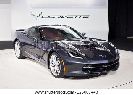 DETROIT - JANUARY 15 : The newly designed 2014 Covette C7 Stingray at The North American International Auto Show  January 15, 2013 in Detroit, Michigan.