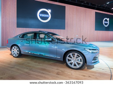 DETROIT, MI/USA - JANUARY 14, 2016: Volvo S90 global debut car at the North American International Auto Show (NAIAS), one of the most influential car shows in the world each year.
