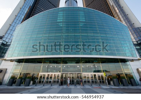 DETROIT MICHIGAN, UNITED STATES OF AMERICA - August 2016: General Motors Renaissance Center Corporate Office. General Motors is one of the Largest Automotive Manufacturers