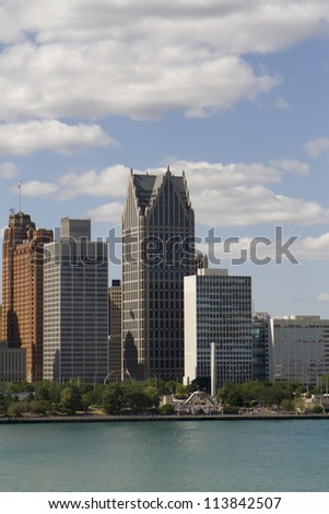 Detroit Michigan USA skyline as seen across the Detroit River.