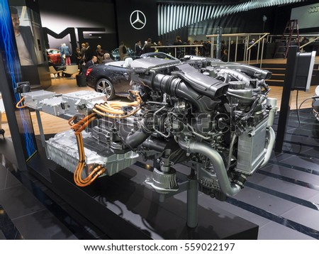 DETROIT, US - JANUARY 9,2017: Mercedes V6 petrol plugin hybrid power plant on display during the North American International Auto Show at the Cobo Center in downtown Detroit.