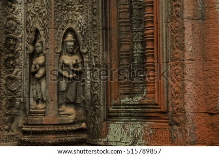Devatas carving in Ta Prohm temple