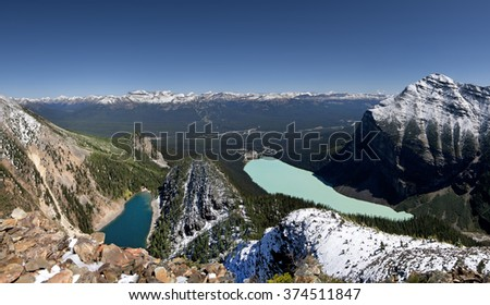 Devil's Thumb Hike, Scramble Lake Agnes (left), Lake Louise (center), Mount Fairview (right), Lake Louise, Banff National Park, Alberta, Canada Lake Louise Ski Resort Picture taken on August 22, 2015