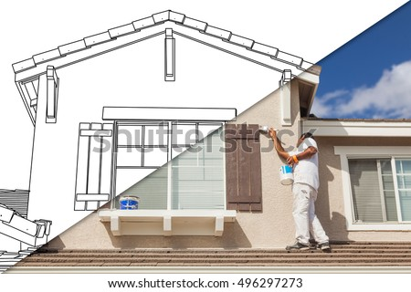 Diagonal Split Screen of Drawing and Photo of Busy House Painter Painting Home.