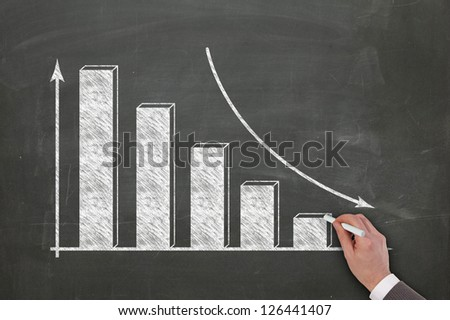 diagram sketched on blackboard by a business man hand