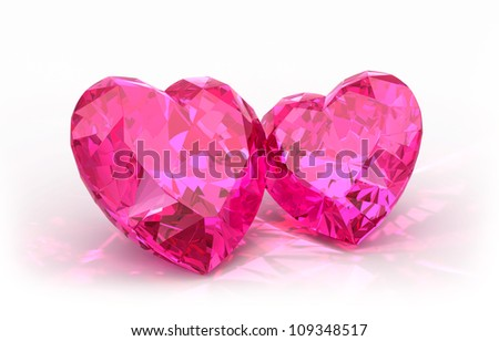 Diamond hearts  isolated on light background. Beautiful sparkling diamonds on a light reflective surface. Valentines day background with two hearts.