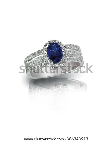 diamond sapphire ring engagement wedding bridal gemstone isolated on white