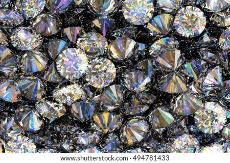 Diamonds as background 3D illustration