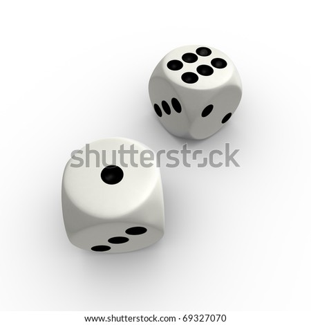 Dice with number one and six