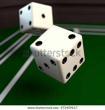 Dices rolling on the craps table. 3D illustration.