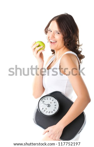 Diet and weight, young woman with scale under her arm and apple