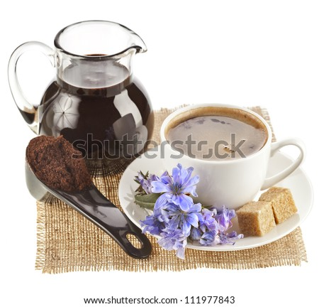 diet drink chicory in a cup -  coffee substitutes , isolated on a white background