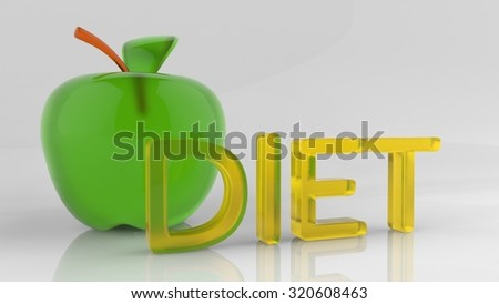 Diet word situated near an apple, healthy Life. 3d illustration