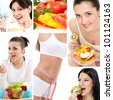 Dieting collage, beautiful healthy women - stock photo