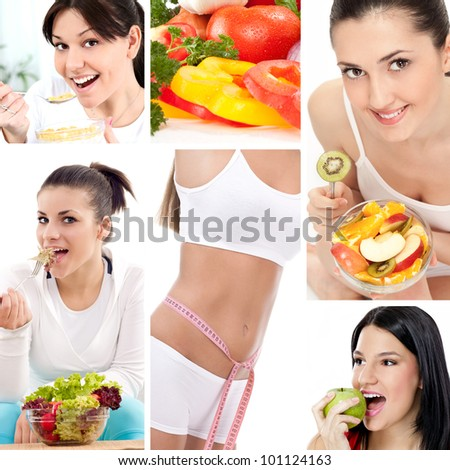 Dieting collage, beautiful healthy women