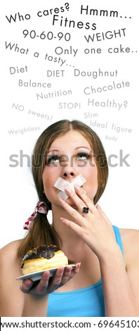 Dieting concept: attractive girl with chocolate cake and closed mouth by sticky tape, and her thoughts above. Studio shot, isolated on white background.
