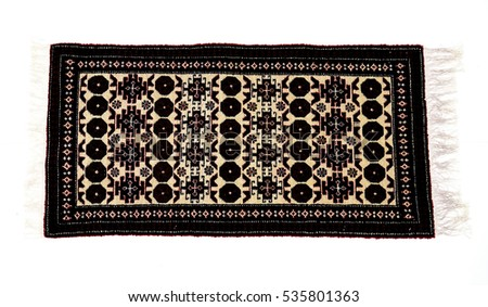 different beautiful Oriental Turkish handmade rugs on white background