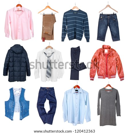 Collection Different Types Woman Clothing Stock Photo ...