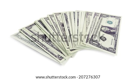 Different dollars banknotes on white background