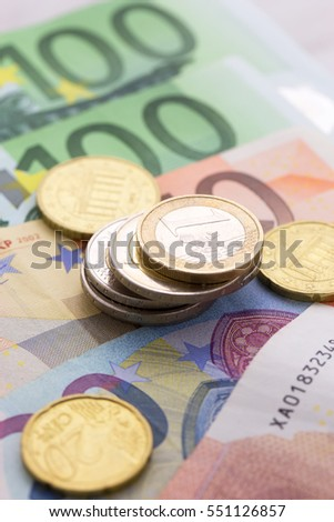 Different Euro banknotes and coins currency of Europe