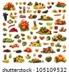 Different fruits and vegetables isolated on white - stock photo
