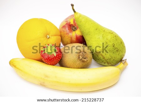 Different fruits on a white background.