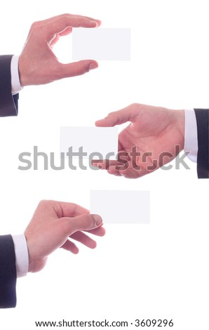 different hand's gestures and business card