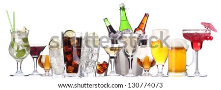 different images of alcohol isolated on a white background