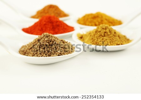 Different kinds of spices in ceramics spoons isolated on white