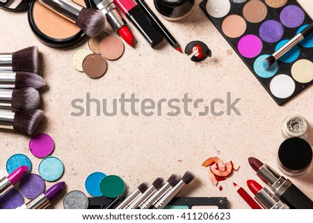 Makeup Products On Marble Background Form Stock Photo