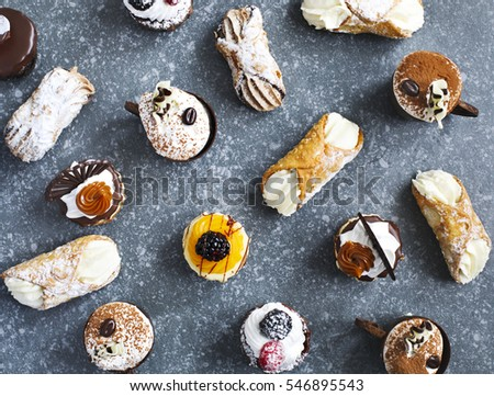 Different pastries, top view