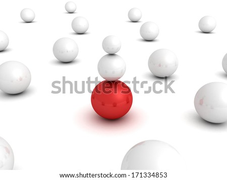 Different red leader ball sphere in other white crowd