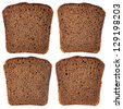 Different slice of black rye bread isolated on white background - stock photo