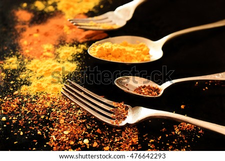 Different spices on the retro style forks and spoons with dark background