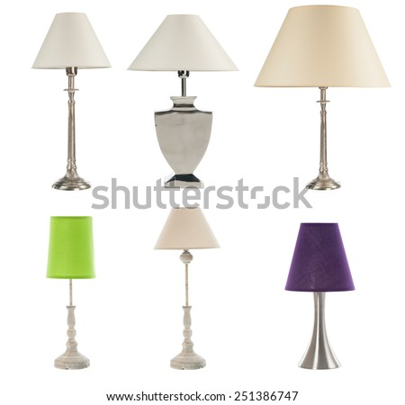 different table lamps on white bckground