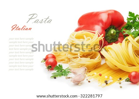 different types of  raw italian pasta with vegetables and spices isolated on white background close up