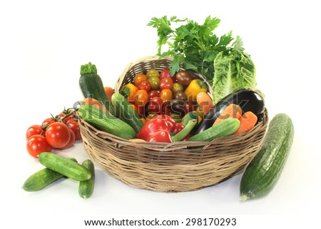 different types of vegetables in a basket