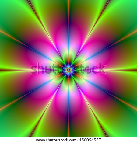 Digital abstract fractal image with a neon flower design in yellow, green, blue and pink.
