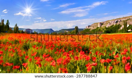Digital artwork in watercolor painting style. Blossom field of poppies in spring