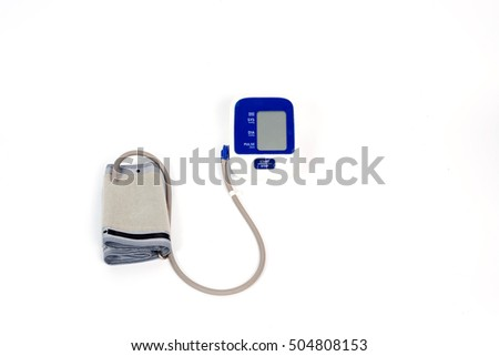 Digital blood pressure gauge isolated on white background