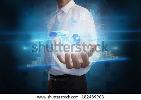 Digital composite of businessman presenting interface with globe, Elements of this image furnished by NASA